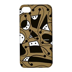 Playful abstract art - Brown Apple iPhone 4/4S Hardshell Case with Stand