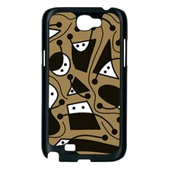 Playful abstract art - Brown Samsung Galaxy Note 2 Case (Black)