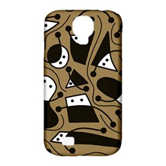 Playful abstract art - Brown Samsung Galaxy S4 Classic Hardshell Case (PC+Silicone)