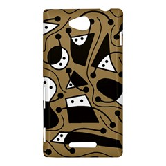 Playful abstract art - Brown Sony Xperia C (S39H)
