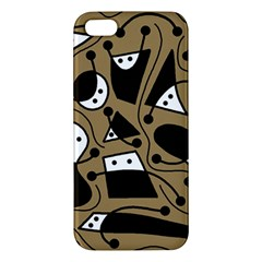 Playful abstract art - Brown iPhone 5S/ SE Premium Hardshell Case
