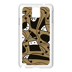 Playful abstract art - Brown Samsung Galaxy Note 3 N9005 Case (White)