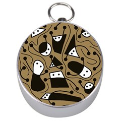 Playful abstract art - Brown Silver Compasses
