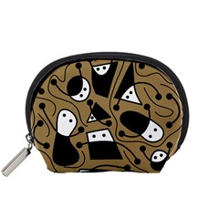 Playful abstract art - Brown Accessory Pouches (Small)
