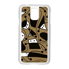 Playful abstract art - Brown Samsung Galaxy S5 Case (White)