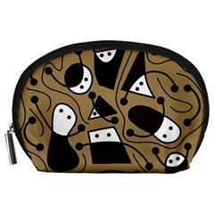Playful abstract art - Brown Accessory Pouches (Large)