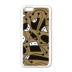 Playful abstract art - Brown Apple iPhone 6/6S White Enamel Case