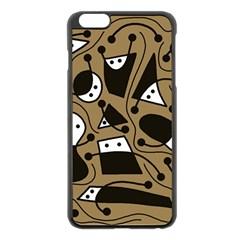Playful abstract art - Brown Apple iPhone 6 Plus/6S Plus Black Enamel Case