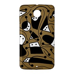 Playful abstract art - Brown Nexus 6 Case (White)