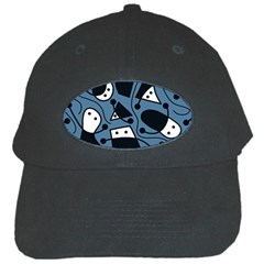 Playful abstract art - blue Black Cap