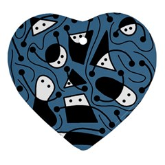 Playful abstract art - blue Ornament (Heart)