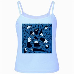 Playful abstract art - blue Baby Blue Spaghetti Tank