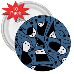 Playful abstract art - blue 3  Buttons (10 pack)