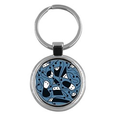 Playful abstract art - blue Key Chains (Round)