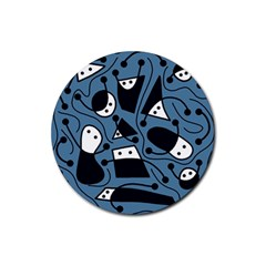 Playful abstract art - blue Rubber Coaster (Round)