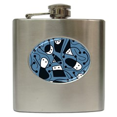 Playful abstract art - blue Hip Flask (6 oz)