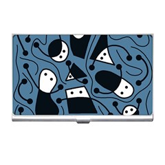 Playful abstract art - blue Business Card Holders
