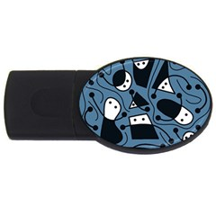 Playful abstract art - blue USB Flash Drive Oval (1 GB)