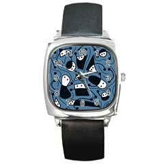 Playful abstract art - blue Square Metal Watch