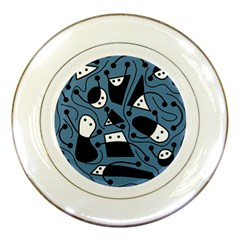 Playful abstract art - blue Porcelain Plates
