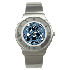 Playful abstract art - blue Stainless Steel Watch