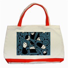Playful abstract art - blue Classic Tote Bag (Red)
