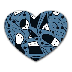 Playful abstract art - blue Heart Mousepads
