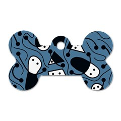 Playful abstract art - blue Dog Tag Bone (One Side)
