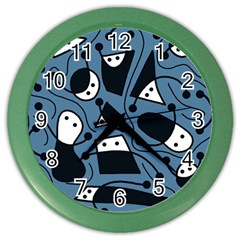 Playful abstract art - blue Color Wall Clocks