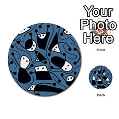 Playful abstract art - blue Multi-purpose Cards (Round)