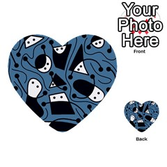Playful abstract art - blue Multi-purpose Cards (Heart)