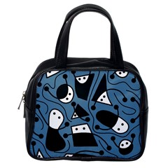 Playful abstract art - blue Classic Handbags (One Side)