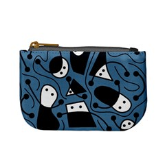 Playful abstract art - blue Mini Coin Purses
