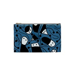 Playful abstract art - blue Cosmetic Bag (Small)