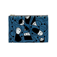 Playful abstract art - blue Cosmetic Bag (Medium)