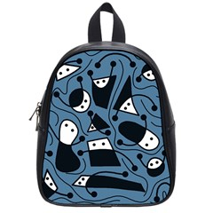Playful abstract art - blue School Bags (Small)