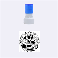 Playful abstract art - blue Rubber Round Stamps (Small)