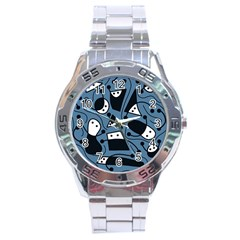 Playful abstract art - blue Stainless Steel Analogue Watch