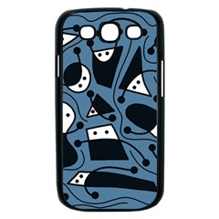 Playful abstract art - blue Samsung Galaxy S III Case (Black)