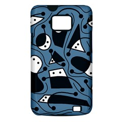 Playful abstract art - blue Samsung Galaxy S II i9100 Hardshell Case (PC+Silicone)