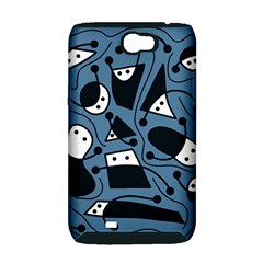 Playful abstract art - blue Samsung Galaxy Note 2 Hardshell Case (PC+Silicone)