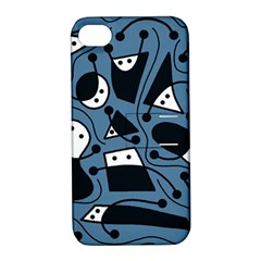 Playful abstract art - blue Apple iPhone 4/4S Hardshell Case with Stand