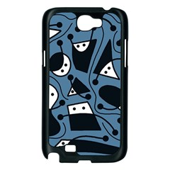 Playful abstract art - blue Samsung Galaxy Note 2 Case (Black)
