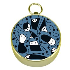 Playful abstract art - blue Gold Compasses