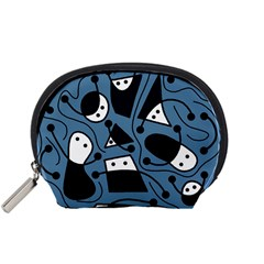 Playful abstract art - blue Accessory Pouches (Small)