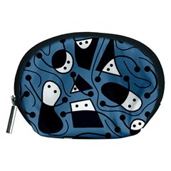 Playful abstract art - blue Accessory Pouches (Medium)