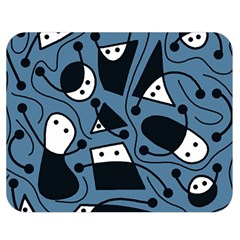 Playful abstract art - blue Double Sided Flano Blanket (Medium)