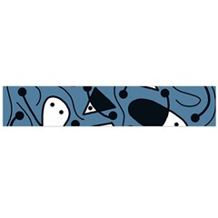Playful abstract art - blue Flano Scarf (Large)