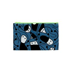 Playful Abstract Art   Blue Cosmetic Bag (xs)