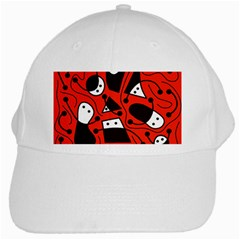 Playful abstract art - red White Cap